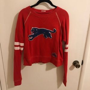 Mother red sweatshirt with chenille leopard